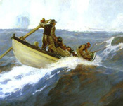detail from painting of men in a whaleboat