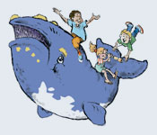 cartoon of whale with children getting a fun ride on its back