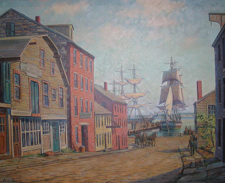 "Painting titled ""Centre Street, New Bedford."""