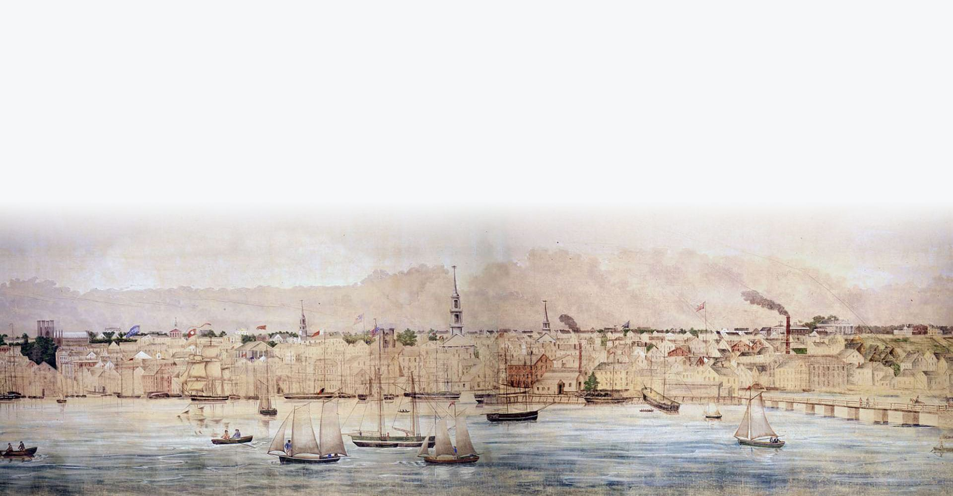 Section of Roll 1 of the Grand Panorma showing New Bedford, Massachusetts.
